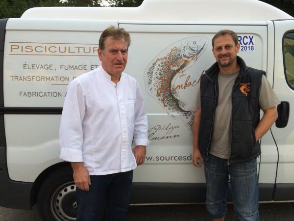 Jacques  Bruckmann (Restaurant l'Etoile) et son producteur la Source du Heimbach