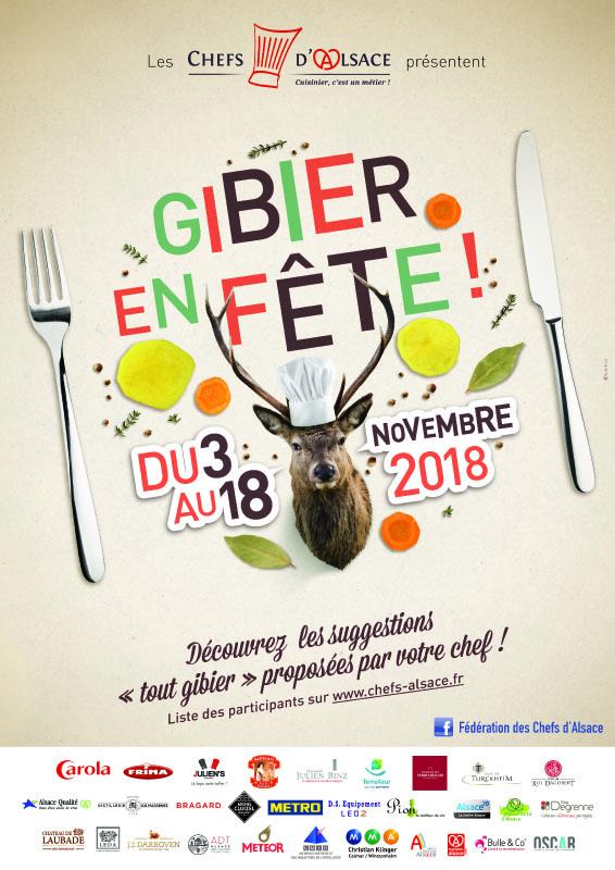 affiche de l'opération Gibier en Fête 2018 organisée par les Chefs d'Alsace