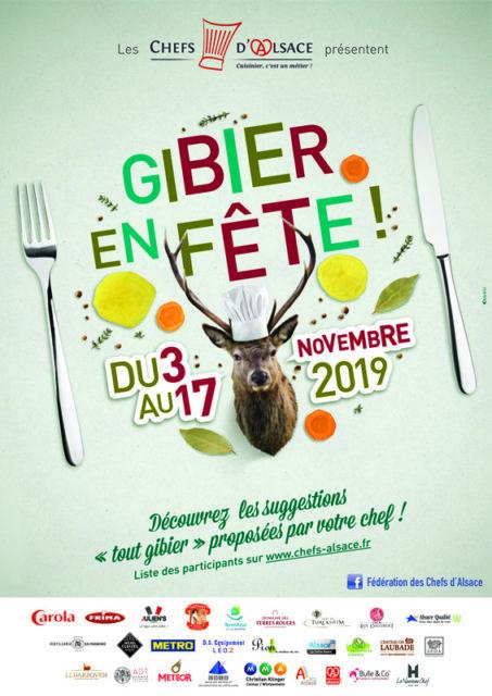 Affiche de l'opération Gibier en Fête organisée par la Fédération des Chefs d'Alsace du 3 au 17 novembre 2019.